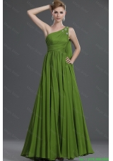 Simple A Line One Shoulder Prom Dresses with Watteau Train