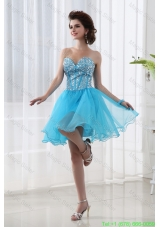 A-line Lovely Sweetheart Beading Baby Blue Prom Dress in Blue