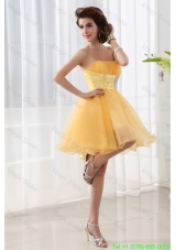 A-line Strapless Organza Gold Mini-length Prom Dress with Ruching