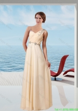 Asymmetrical Champagne Empire Prom Dress With 2014 New Styles Beaded Decorate
