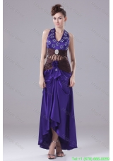 Beading Ruching Flower and Pattern Decorated High-low Prom Dress with Cutouts