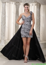 Column One Shoulder Sweetheart Ruched Leopard Black and White Prom Dress