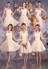 Delicate Champagne Bridesmaid Dresses with Hand Made Flowers