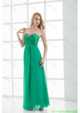Empire Turquoise Sweetheart Floor-length Beading Prom Dress