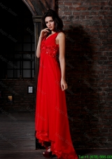 Empire V-neck Red Chiffon Floor-length Hand Made Flowers Side Zipper Prom Dress