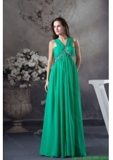 GreenV-neck Floor-length Prom Gown with Beading and Ruching