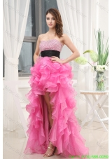Hot Pink Strapless Belt Beading Ruffles High-Low Organza Prom Dress for 2016