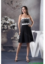 Simple Black and White Prom Cocktail Dress with Lace Decoration