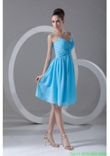 Taffeta A-line Straps Aqua Blue Beading Knee-length Prom Dress
