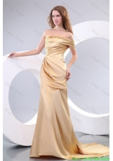 Affordable Column One Shoulder Brush Train Champagne Prom Dress with Ruchin