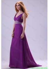 Beaded Decorate Shoulder and Waist V-neck Empire Purple Prom Dress