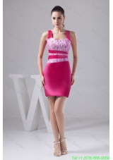 Beading and Lace Accent Prom Cocktail Dress in Hot Pink