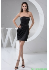 Black Mini Prom Holiday Dress with Ruches and Beaded Waist