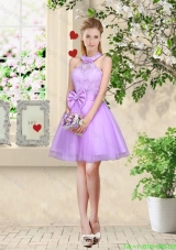 Feminine Halter Top Laced and Bowknot Bridesmaid Dresses in Lavender