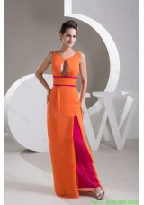 Orange V-neck Floor-length Prom Gown Dress with Cutout for Cheap