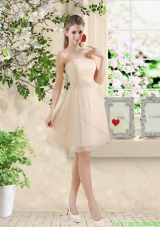 Perfect Short Strapless Champagne Bridesmaid Dresses with Belt