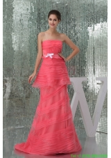 Watermelon Strapless Brush Train Prom Dress for Ladies with Ruche