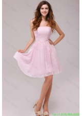Baby Pink Strapless Knee-length Empire Bridesmaide Dress for Cocktail Party