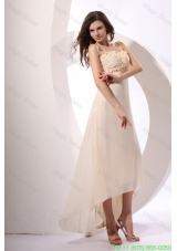 Champagne Straps High-low Empire Chiffon Hand Made Flowers Prom Dress