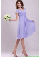 2013 Empire Cap Sleeves Lavender Ruching Bridesmaide Dress