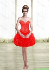 2015 Cute Appliques and Ruffles Red Prom Dress