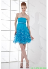 A-line Strapless Cocktail Dress with Beading Ruching Appliques Organza