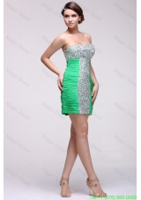 Beaded Sexy Mini-length Green Cocktail Dress with Side Zipper