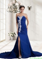Best Ruching and Appliques Chiffon Sweetheart Prom Dress in Royal Blue