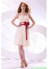 Champagne Empire Straps Beading Mini-length Chiffon Bridesmaide Dress