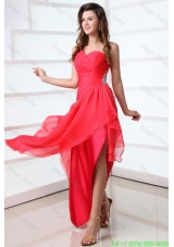 Coral Red Column Chiffon One Shoulder High Low Beading Chiffon Celebrity Dress