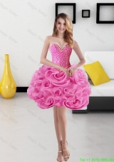 Cute Sweetheart Short Rolling Flowers Rose Pink Cocktail Dress for 2015