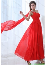 Elegant Empire One Shoulder Red Watteau Train Celebrity Dress with Beading