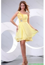 Empire One Shoulder Beading Chiffon Short Bridesmaide Dress Prom Dress