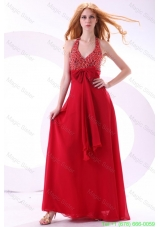 Empire Wine Red Halter Top Beading Bow Chiffon Celebrity Dress