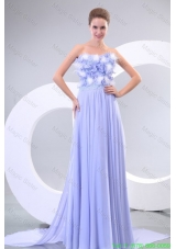 Lavender Strapless Empire Appliques and Laciness Watteau Train Simple Bridesmaide Dress