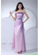 Lilac Tulle and Taffeta Ankle-length Prom Gown Dress with Silver Sash