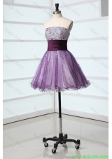 Lovely A-line Sweetheart Purple Mini-length Beading Tulle Cocktail Dress