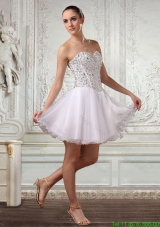 Lovely Short White Sweetheart Cocktail Dress with Beading