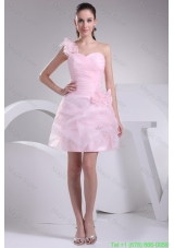 One Shoulder Short Baby Pink Ruched Prom Dress with Handmade Flower