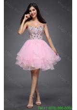 Princess Baby Pink Sweetheart Beading Organza Knee-length Prom Dress