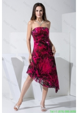 Pringting Sweetheart Assymetrical Strapless Prom Dresses in Black and Red