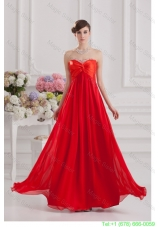 Red Empire Chiffon Beaded Decorate Prom Dress with Sweetheart
