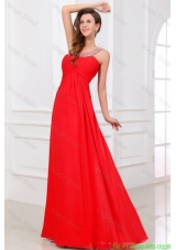 Sexy Red Empire One Shoulder Long Chiffon Beading Celebrity Dress with Criss Cross