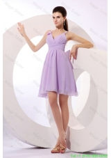 Simple Lilac Straps Bridesmaide Dress with Mini-length Chiffon