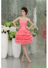 Strapless A-line Organza Watermelon Prom Dress with Ruffled Layers  143.68