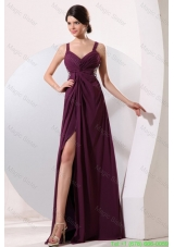 Straps Chiffon Beading and High Silt Celebrity Dress with Criss-cross Back