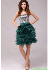 Turquoise Sequins and Ruffles A-line Tulle Cocktail Dress
