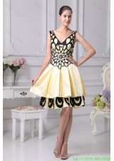 Two Tiers V-neck A-line Prom Dress with Beading and Floral Appliques