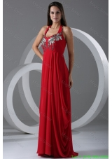 Wine Red Empire Halter Top Celebrity Dress with Beading
