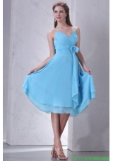 Aqua Blue A-line Spaghetti Straps Knee-length Bridesmaide Dress with Sash